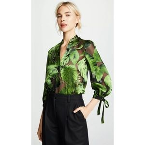 Alice + Olivia Sheila Palm Leaf Tie Sleeve Top